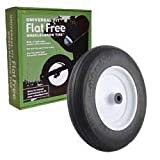 Universal Fit, Flat Free Wheelbarrow Tire and Wheel Assembly with Adapter Kit