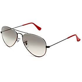 Ray-Ban Unisex RB3025 Aviator Sunglasses,White Red Frame/Grey Gradient Lens,one size