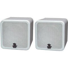 Pyle Home PCB4WT 4-Inch 200-Watt Mini Cube Bookshelf Speaker (White) (Pair)