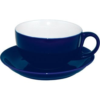 Coloured Porcelain Crockery Set Cappuccino Cup and saucer - Blue - 10oz (Box 12) - funky and contemporary coloured crockery for your kitchen!