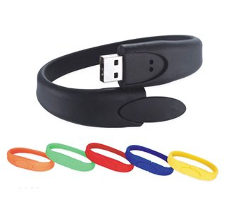 Silicone Bracelet USB Flash Memory Drive, 4GB, Blue