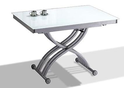 table basse relevable extensible verre trempe