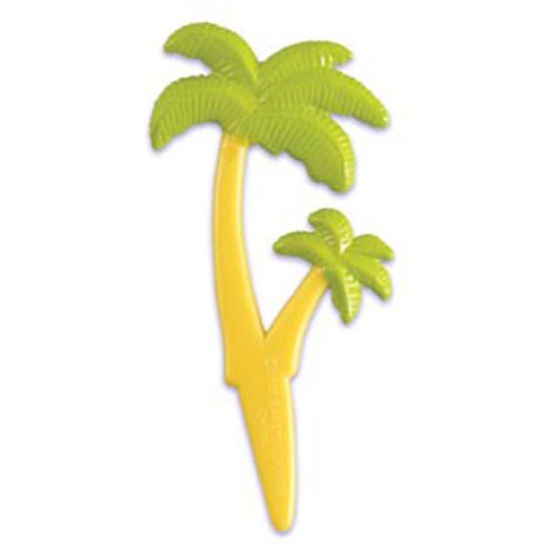 Dress My Cupcake DMC41S-801 12-Pack Double Palm Tree Pick Decorative Cake Topper, Sea/Ocean/Nautical/Summer, Green