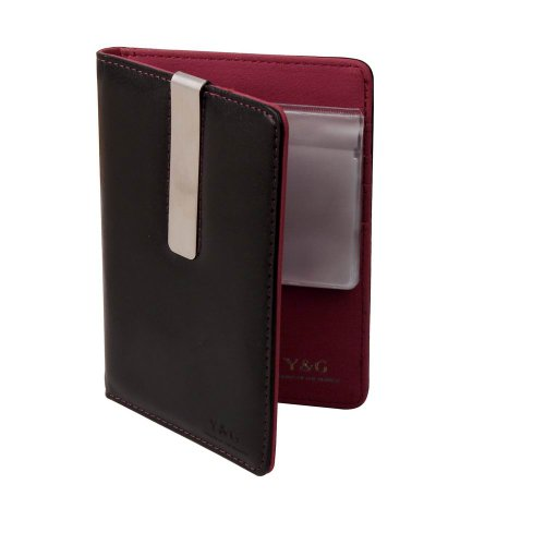 PW1004 Black Red Travel Leather Passport Case Wedding Gift Money Clip By Y&G