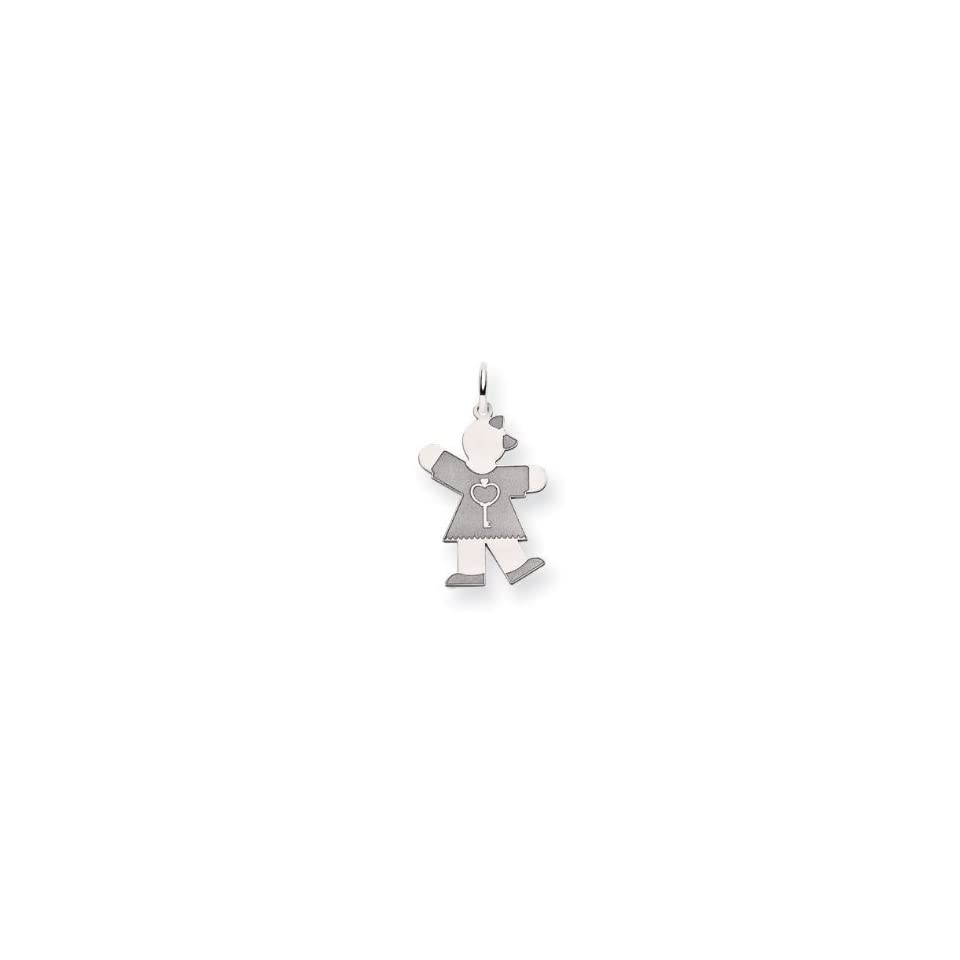 Ladies 14k White Gold Key Heart Girl Charm Pendant