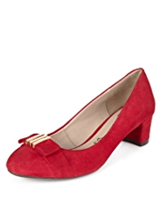 Footglove™ Suede Bow & Metal Trim Court Shoes