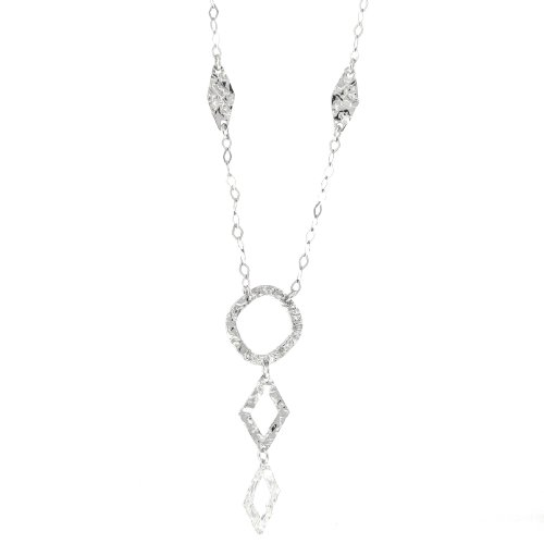 Sterling Silver Hammered Triple Drop Necklace, 16