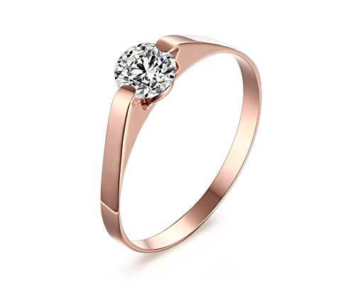 Vnox Womens Stainless Steel Cubic Zirconia Tension Set Rose Gold Brilliant Wedding Engagement Ring,Size 7 (Rose Tone Stainless Steel Rings compare prices)