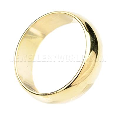 7mm 18ct Gold D-Shape Wedding Ring