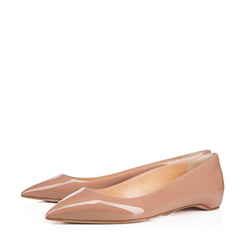XYD Women Chic Patent Leather Dress Flats Rhinestones Low Cut Shoes Size 13 Nude