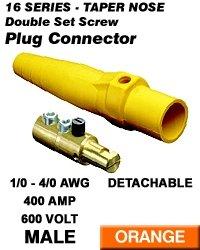 Leviton 16D24-O Single Pole Cam Type Plug Detachable Male Double Set Screw Complete 16 Series Taper Nose 1/0-4/0 Awg 400 Amp - Orange (Pkg Of 5)
