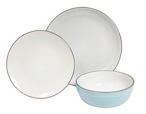 Sabichi 12-Piece Stoneware Quail Dinner Set, Blue