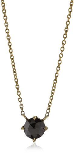 Mizuki 14k Large Rose Cut Black Diamond Bezel Necklace, 16""