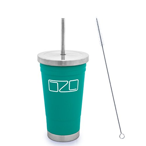 The Tumbler by OZO - Premium Stainless Steel Vacuum Insulated Travel Mug, Hot or Cold Drinks with Straw and Brush, 16oz capacity, in Matte Teal Green