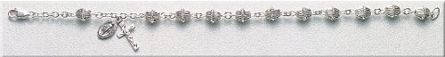 Sterling Silver Rosary Bracelet Bracelets Catholic Acorn Cap Bead 7.5