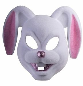[White And Pink Bunny Plastic Mask Bugs Bunny Deluxe Costume Accessory] (Deluxe Pink Gorilla Costumes)