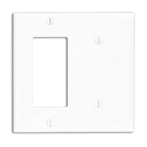 Leviton 80708-W 2-Gang 1-Blank Decora/GFCI Device Combination Wallplate, Standard Size, White