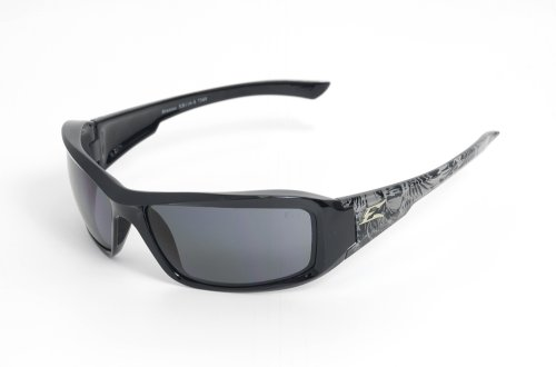 Edge Eyewear TXB216-S Brazeau Safety Glasses, Black Skull Series with Polarized Smoke Lens (Edge Safety Glasses Polarized compare prices)