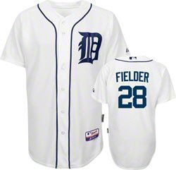 New Prince Fielder Jersey: Detroit Tigers #28 Home White Authentic Majestic Cool Base On-Field Jersey Size 48 (Medium)