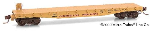 Micro Trains N 45070: 50' Flat Car, Fishbelly Side w/Side Mount Brake Wheel, Union Pacific UP#58522