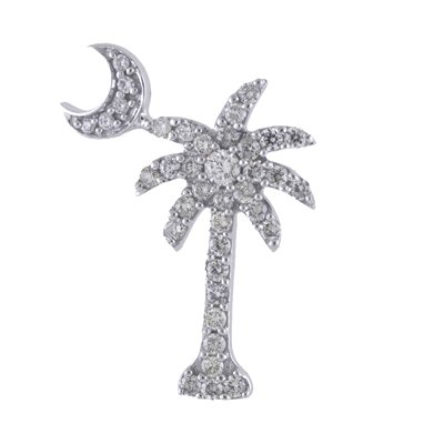 14K White Gold .50 Ct Diamond Palm Tree Crescent Moon Pendant with 18