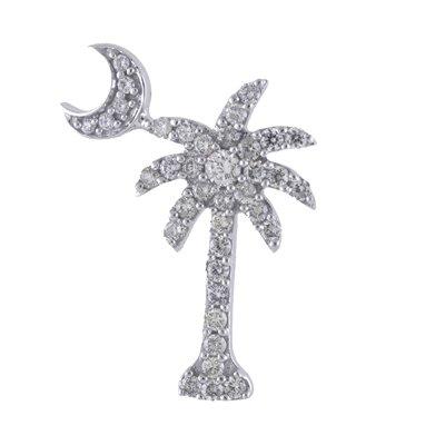 14K White Gold .50 Ct Diamond Palm Tree Crescent Moon Pendant with 18