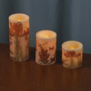 Lily'S Home Flameless Candles With Botanical Artwork; Led Candles, Pillar Real Wax Candles, 3-Inch, 4-Inch, And 6-Inch Candles