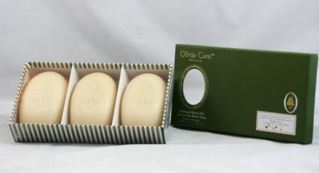 Olivia Care Natural Olive Oil Green Tea Bath Soap Set Of 3 Bars - 15 Oz