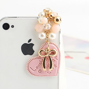 Cjb Dust Plug / Earphone Jack Accessory Pink Beans Heart Golden Bow For Iphone 4 4S S4 5 All Device With 3.5Mm Jack (Us Seller)