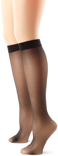 Hanes Silk Reflections Women's Knee High With No Slip Band, Jet, One Size
