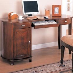 Buy Low Price Comfortable Riverland Kidney Shaped Single Pedestal Computer Desk by Coaster (B0051PDXGM)