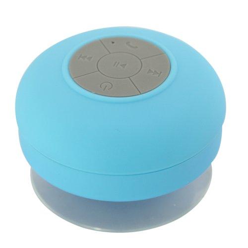 Mini Hifi Waterproof Wireless Bluetooth Handsfree Mic Suction Speaker Shower Car Blue