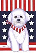 Bichon Frise - by Tomoyo Pitcher, Patriotic Themed Dog Breed Flags 12 x 18
