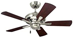 Emerson Ceiling Fans CF773BS Monterey II Indoor Ceiling Fan, 42-Inch Blades, Light Kit Adaptable, Brushed Steel Finish