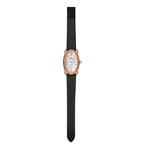 Charmex Tuscany Femme Noir Cuir Bracelet Acier Inoxydable Boitier Montre 6256