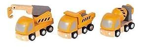 PlanToys - PT6047 - Véhicules en bois - Camions de chantier Plan City, lot de 3