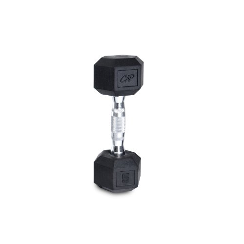 Cap Barbell Rubber Coated Hex Dumbbell with Contoured Chrome Handle (45-Pound)