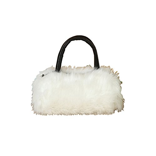 Tenflyer Womens Girls Trendy Faux Rabbit Fur Clutch Shoulder Bag Purse Handbag Tote White