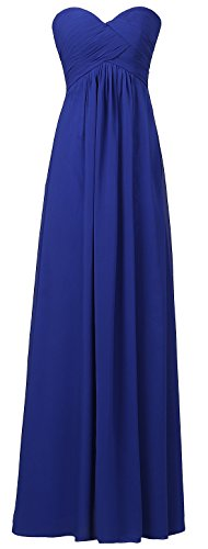 Ouman Sweetheart Bridesmaid Chiffon Prom Dress Long Evening Gown Royal Blue M