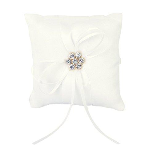 SODIAL(R) Ivory Satin Diamante Blumenhochzeits Party Tasche Ring Kissen Kissen