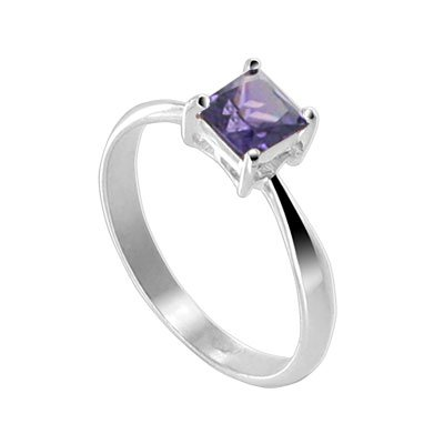 Sterling Silver Princess cut Amethyst Cubic Zirconia Solitaire Promise Ring Size 5