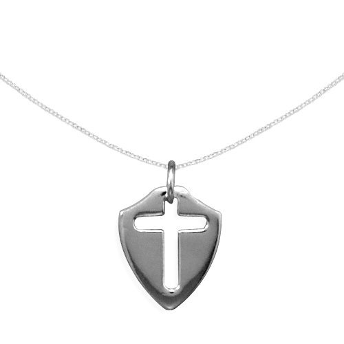 Children's Cross Necklace Shield with Cut Out Cross Sterling Silver