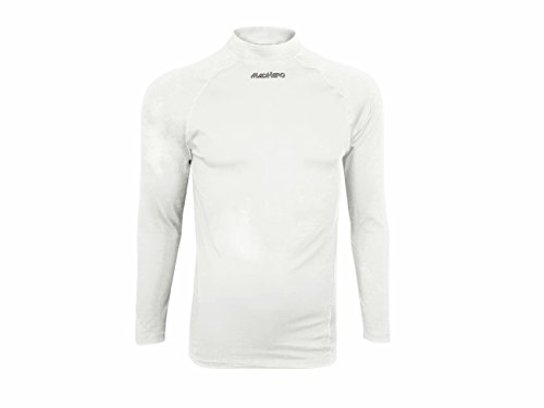 Hugesports Men's Long Sleeves Running Exercise Workout Fitness Baselayer Compression Shirt White Medium