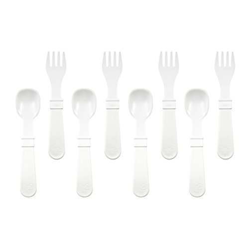 Re-Play Made in the USA 8 count Spoon and Fork Utensil Set for Baby and Toddler - White (Baby Spoons White compare prices)