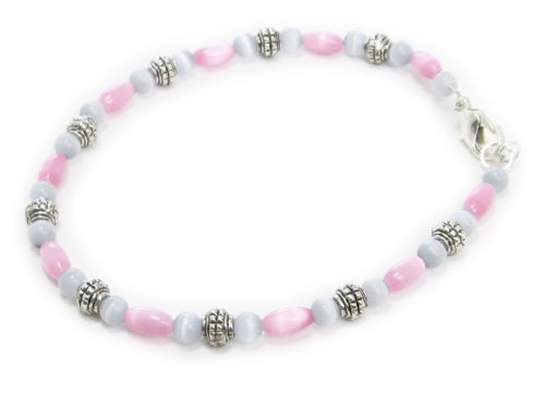 AM4804 – Unique grey and pink cats eye bead bracelet by Dragonheart – 20cm