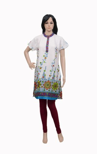 Floral & Block Print Women's Wear Cotton Kurta Party Wear Top