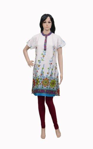 Floral & Block Print Women's Wear Cotton Kurta Party Wear Top