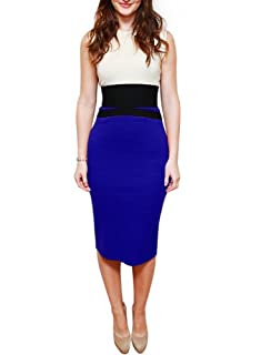 Miusol Celebrity Midi Contrast Bodycon Pencil Evening Dress, Ship From Us (Large/US Size 10, Blue)