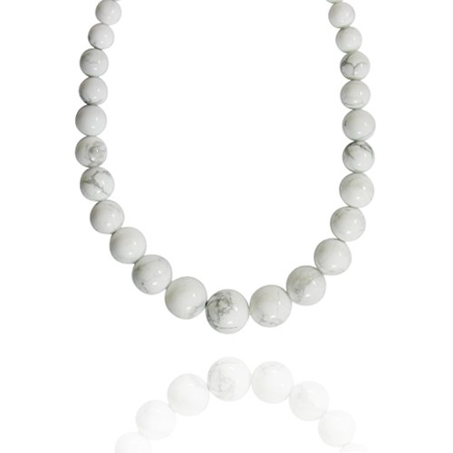 6-16mm Round Howlite Graduated Bead Necklace, 30+2