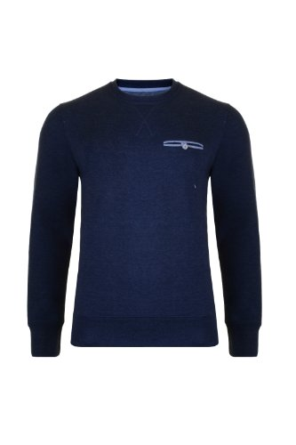 Mens Tokyo Tigers Crew Neck Sweatshirt With Contrast Elbow Patches. Style Name - Ishikari. In Navy Marl Size - XXLarge